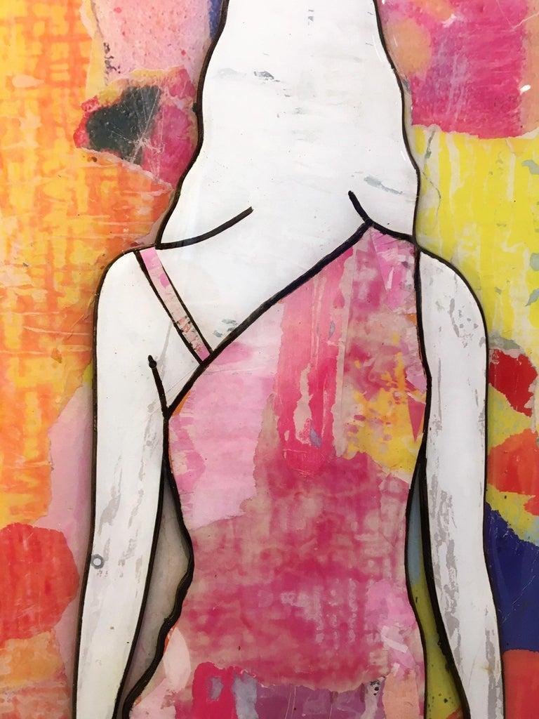5 Walking Girls Confetti, Jane Maxwell, Mixed Media Collage on Panel-Figurative For Sale 2