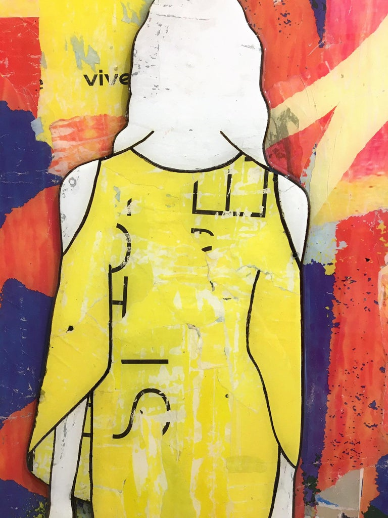 5 Walking Girls Confetti, Jane Maxwell, Mixed Media Collage on Panel-Figurative For Sale 1