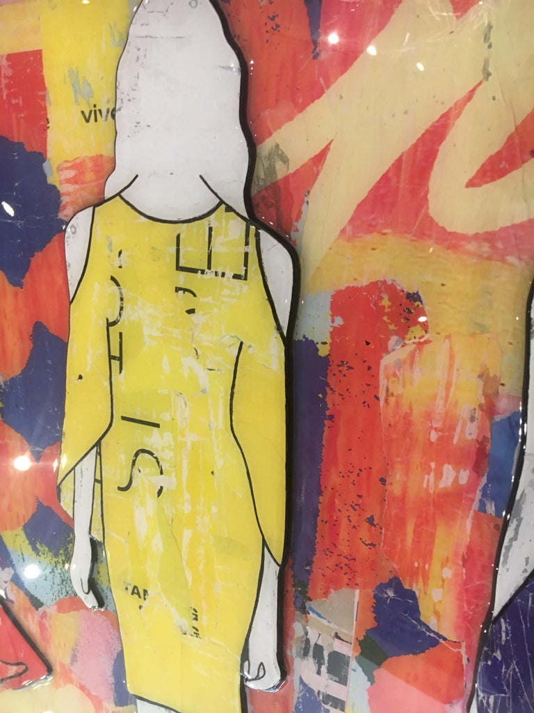 5 Walking Girls Confetti, Jane Maxwell, Mixed Media Collage on Panel-Figurative For Sale 3
