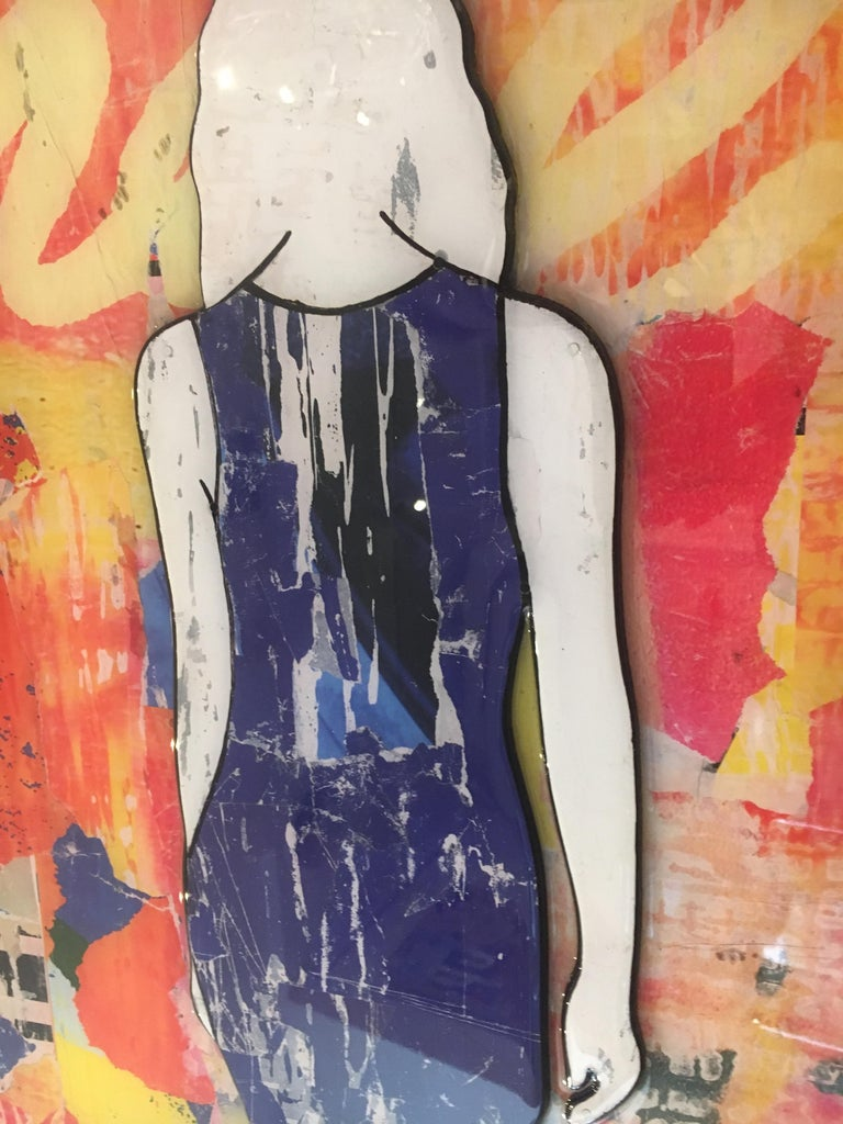 5 Walking Girls Confetti, Jane Maxwell, Mixed Media Collage on Panel-Figurative For Sale 4
