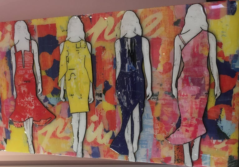 5 Walking Girls Confetti, Jane Maxwell, Mixed Media Collage on Panel-Figurative For Sale 5