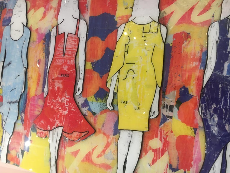 5 Walking Girls Confetti, Jane Maxwell, Mixed Media Collage on Panel-Figurative For Sale 6