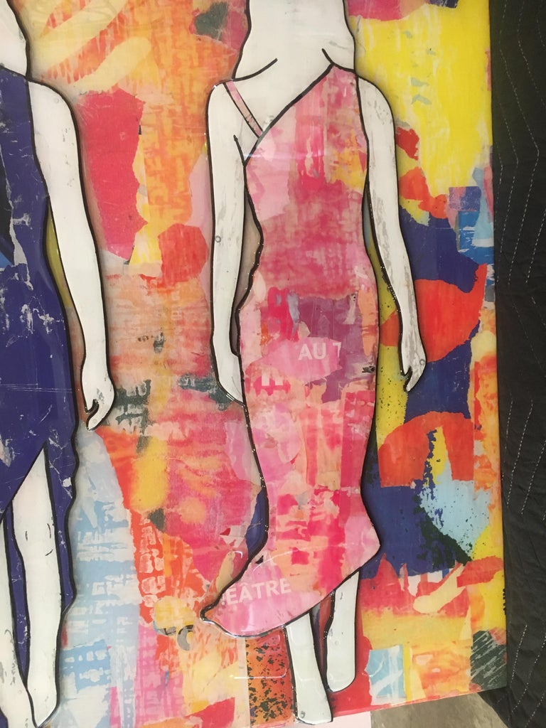 5 Walking Girls Confetti, Jane Maxwell, Mixed Media Collage on Panel-Figurative For Sale 7