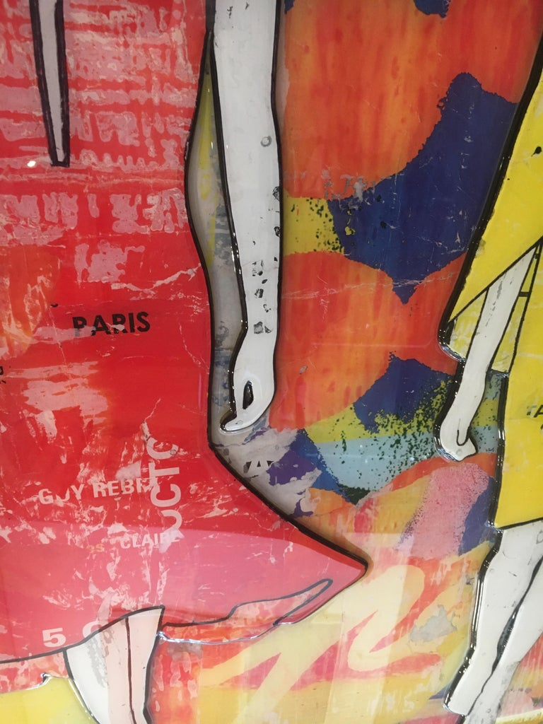 5 Walking Girls Confetti, Jane Maxwell, Mixed Media Collage on Panel-Figurative For Sale 8