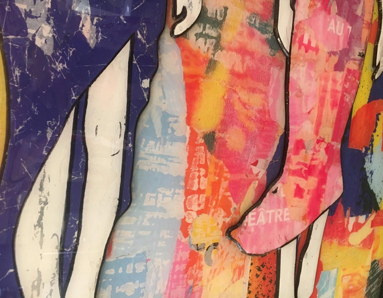 5 Walking Girls Confetti, Jane Maxwell, Mixed Media Collage on Panel-Figurative For Sale 10