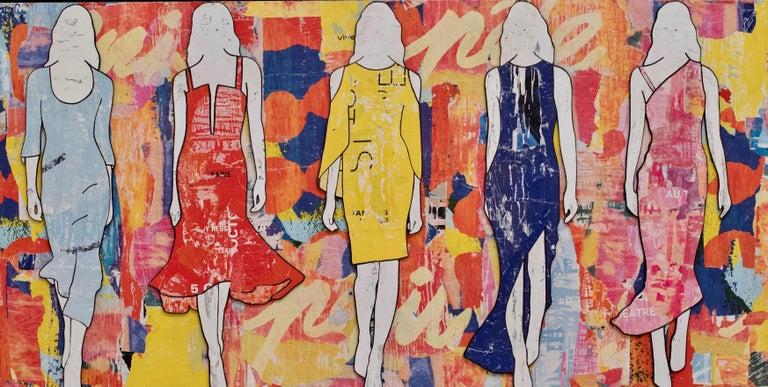5 Walking Girls Confetti, Jane Maxwell, Mixed Media Collage on Panel-Figurative - Mixed Media Art by Jane Maxwell