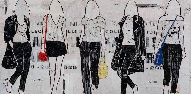 5 Walking Girls, Jane Maxwell-Figurative Mixed Media Collage, Female Silhouette - Mixed Media Art by Jane Maxwell