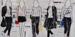 5 Walking Girls, Jane Maxwell-Figurative Mixed Media Collage, Female Silhouette