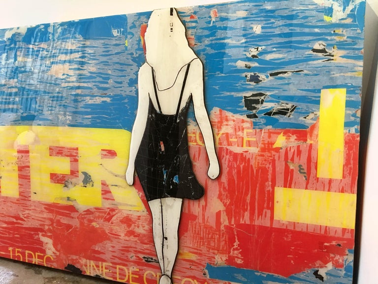 JANE MAXWELL After Mixed Media with Resin on Panel 30 inches x 60 inches  Jane Maxwell's current work largely focuses on women, body image and the feminine ideal. Her collages are deeply layered works, combining color, texture and text that surround