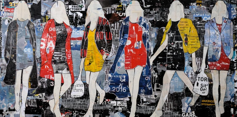 Billboard Walking Girls - Mixed Media Art by Jane Maxwell