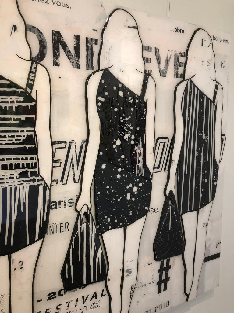 Black & White Walking Girls (Figurative Collage, 3 female silhouettes) - Contemporary Mixed Media Art by Jane Maxwell
