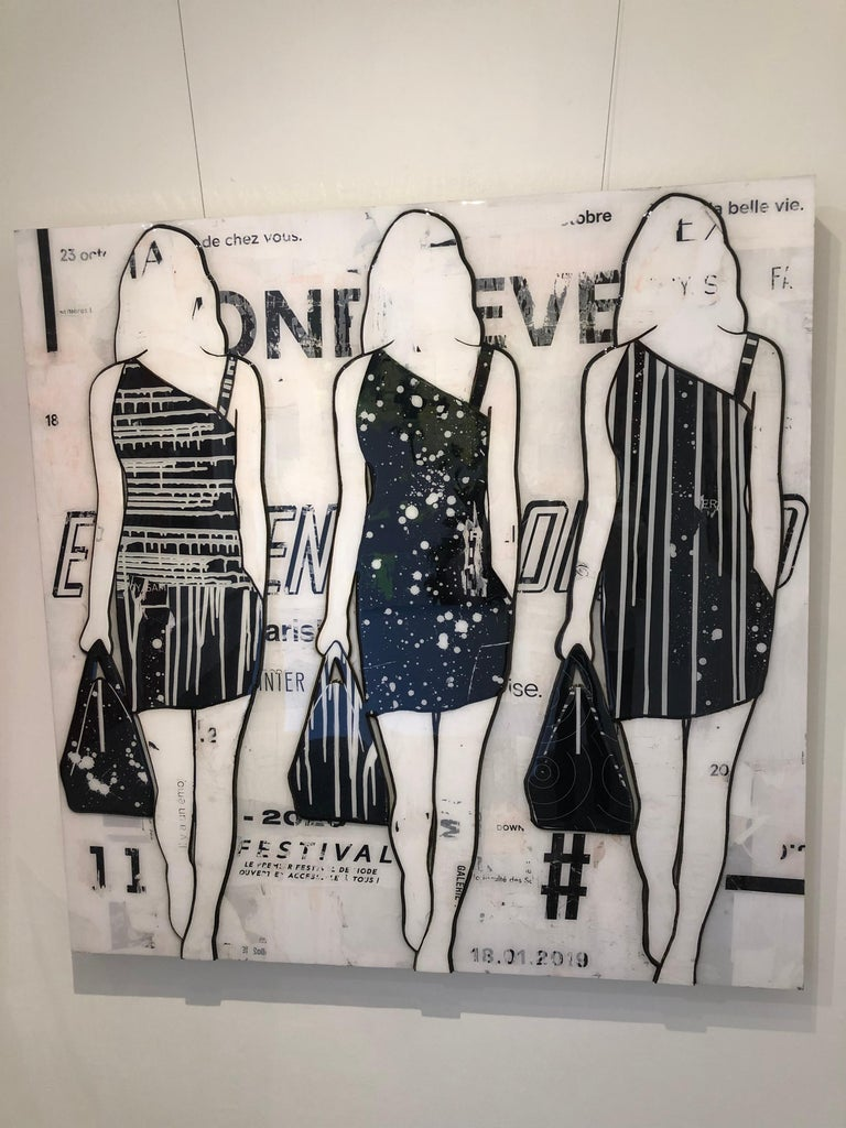Jane Maxwell's current work largely focuses on women, body image and the feminine ideal. Her collages are deeply layered works, combining color, texture and text that surround and become the female figure. Maxwell's artistic voice grew out of a