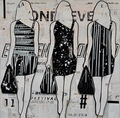 Black & White Walking Girls (Figurative Collage, 3 female silhouettes)