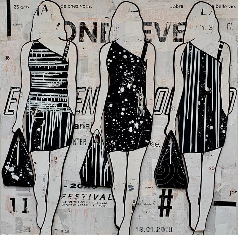 Black & White Walking Girls (Figurative Collage, 3 female silhouettes) - Mixed Media Art by Jane Maxwell