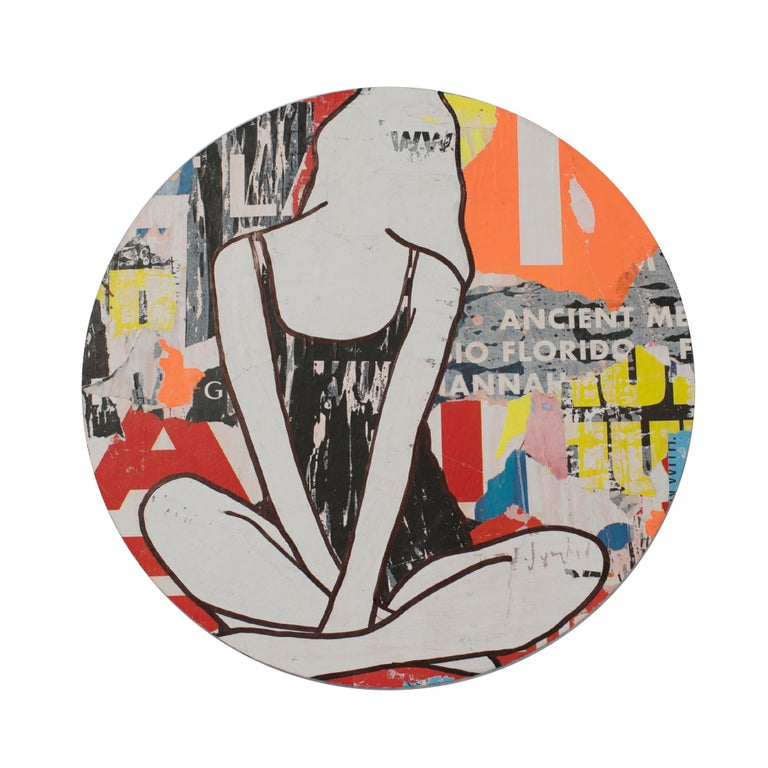 Circle Girl Red 3, Jane Maxwell, Mixed Media Collage on Panel, Female Figurative - Mixed Media Art by Jane Maxwell