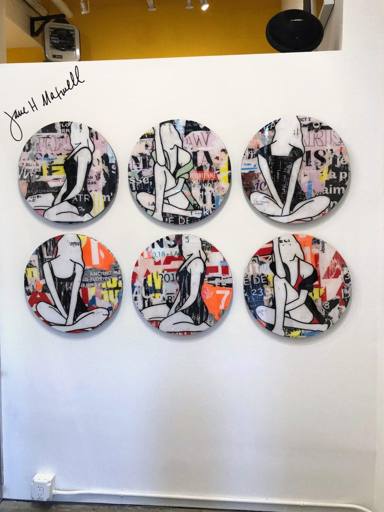 JANE MAXWELL Circle Girls Red Triptych - 3 Panels Mixed Media with Resin on Panel Total Triptych Size: 20 x 60 inches Each Circle Panel: 20 x 20 inches  THE ART OF FASHION:  In conjunction with New York Fashion Week, JoAnne Artman Gallery is proud