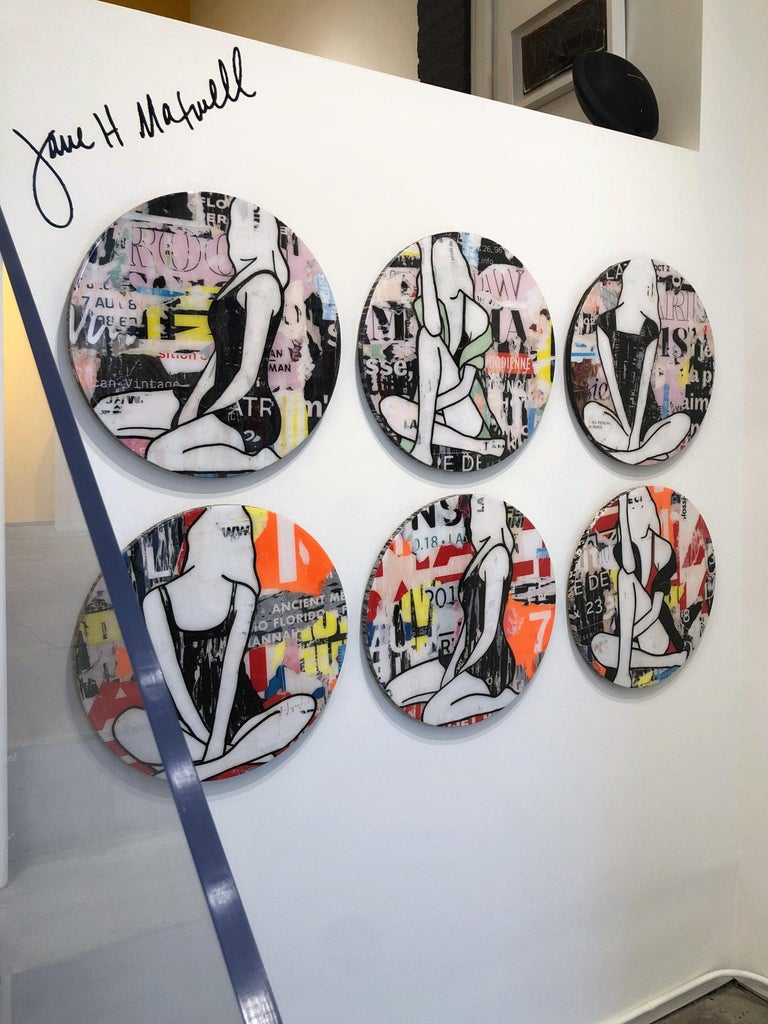 Circle Girls Red Triptych, Jane Maxwell, Mixed Media Collage-Female Figurative For Sale 1