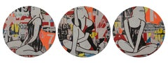Circle Girls Red Triptych- 3 Panels
