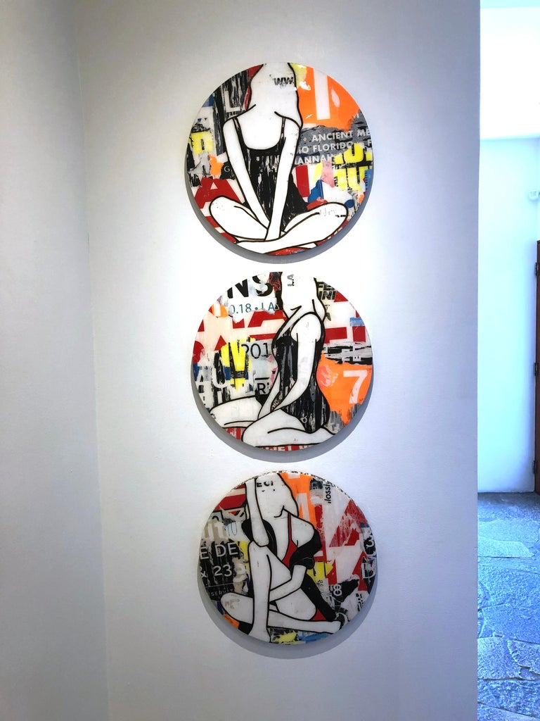 Circle Girls Red Triptych, Jane Maxwell, Mixed Media Collage-Female Figurative For Sale 2