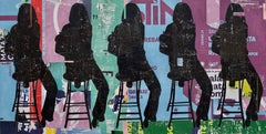 Girls on a Stool- neo -pop collage of black silhouetted seated figures