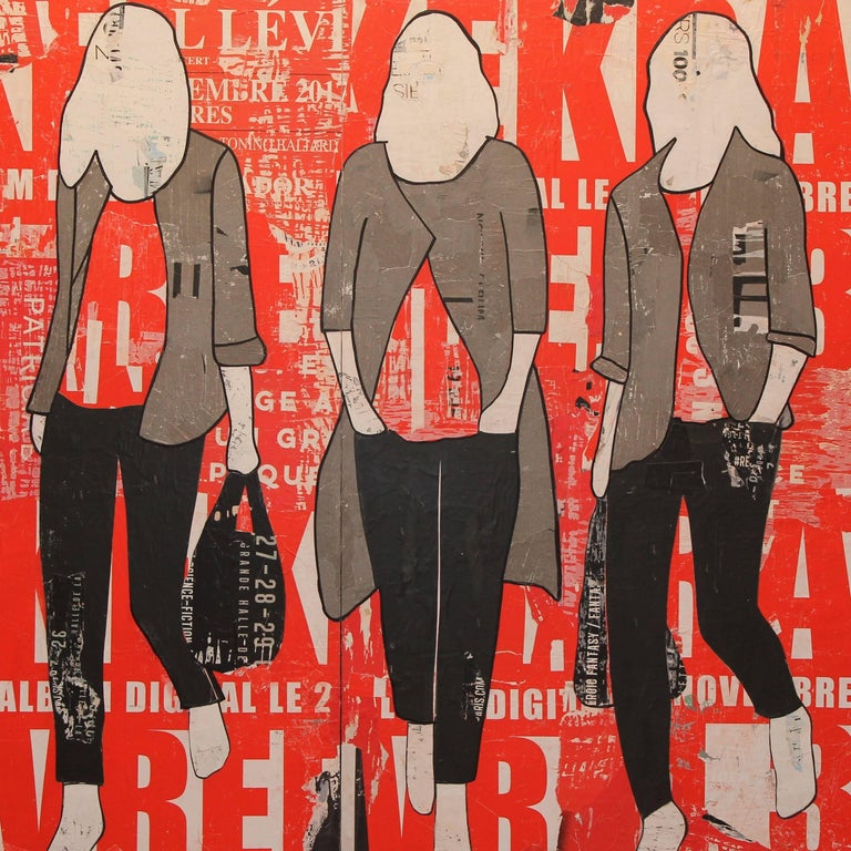 Red Billboard, Jane Maxwell, Mixed Media Collage on Panel, Female Figurative - Mixed Media Art by Jane Maxwell