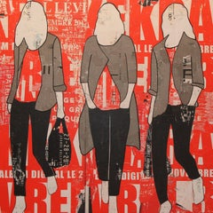 Red Billboard, Jane Maxwell, Mixed Media Collage on Panel, Female Figurative