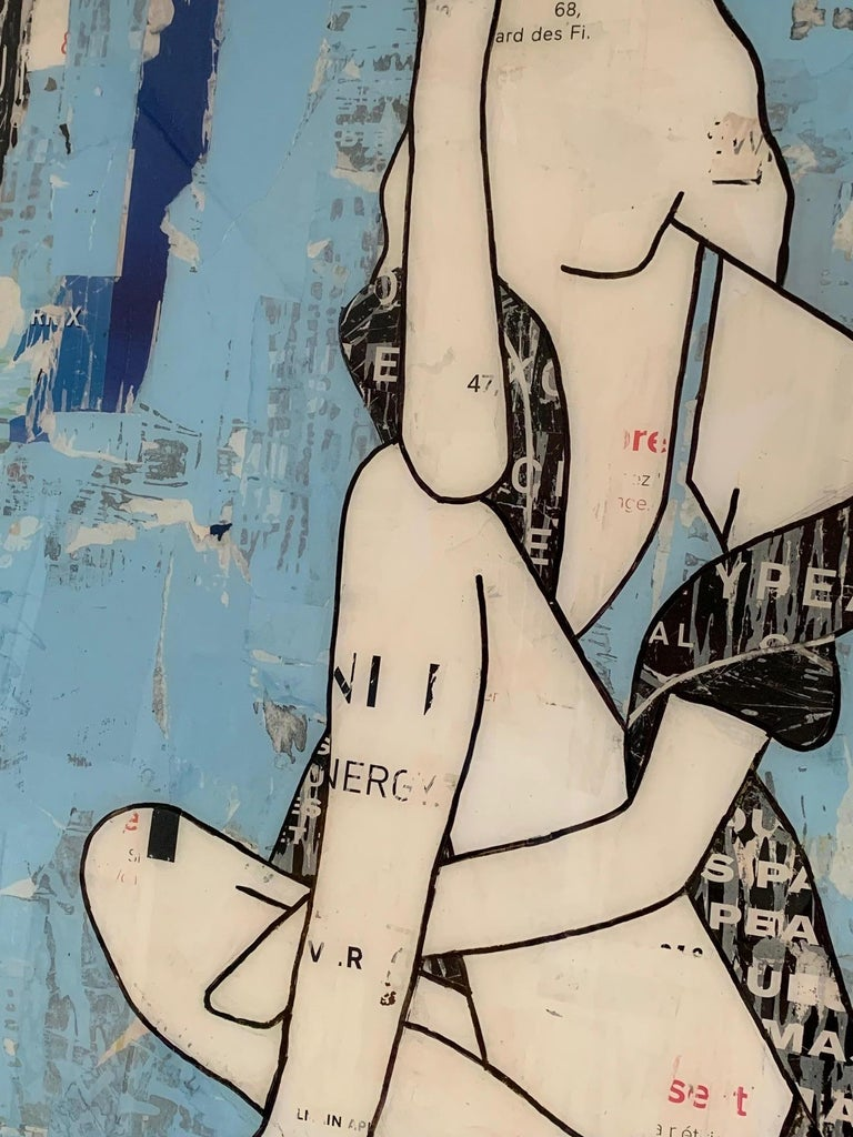 Seated Girl Blue (Figurative Collage) Mixed Media Silhouettes, Feminist - Contemporary Mixed Media Art by Jane Maxwell