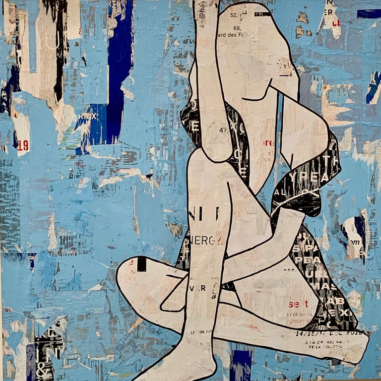 Seated Girl Blue (Figurative Collage) Mixed Media Silhouettes, Feminist - Mixed Media Art by Jane Maxwell