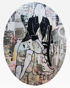 Seated Girl Oval, Jane Maxwell, 2020 (Female Figurative Collage) Portrait