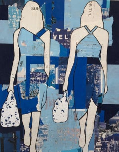 Two Blue Girls- fashion inspired mixed media on panel in shades of blue