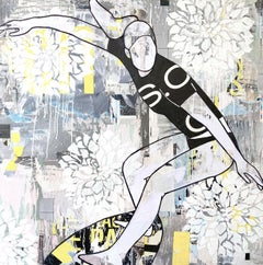 Floral Surf- figurative female surfer, mixed media and resin on panel