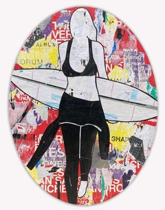 Red Oval Surfer- Mixed media surfer figure by Jane Maxwell