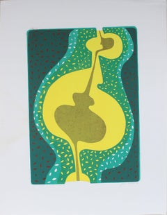 1970's Abstracted Figure in Blue and Yellow Serigraph