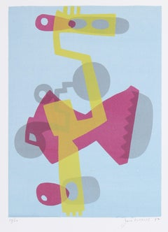 Complementary Pink & Yellow Mechanical Abstract 1972 Serigraph