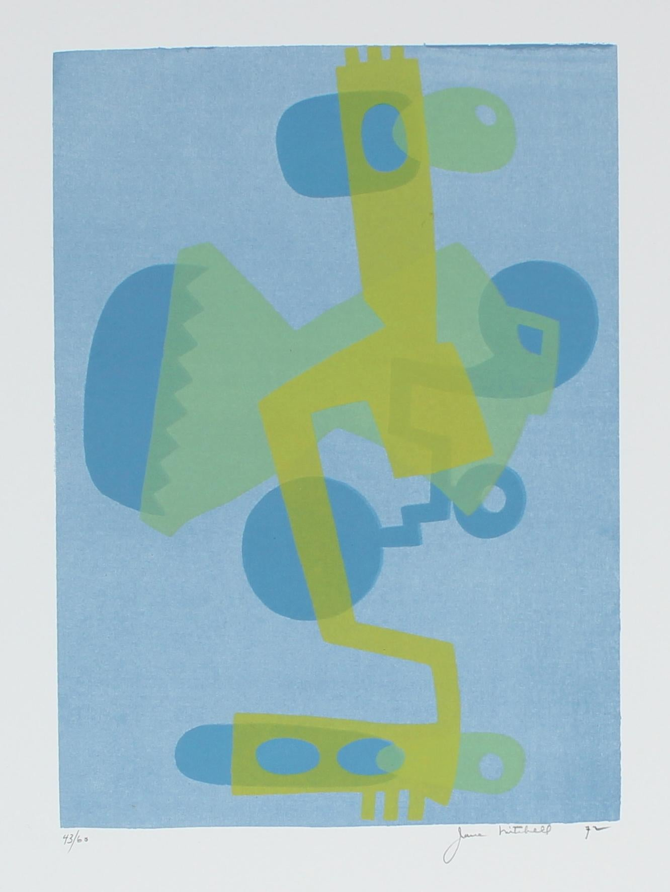 Cool Toned Deconstructed Forms 1972 Serigraph