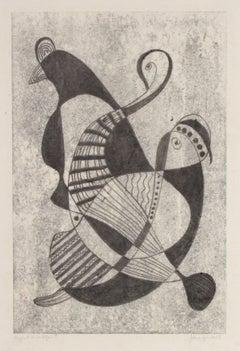 Delicate Surrealist Abstract 1970s Monochromatic Monotype