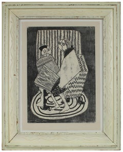 Modernist Monochromatic Abstracted Figures Monoprint on Paper Circa 1960s