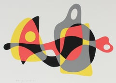 Modernist Organic Abstract Forms 1970 Serigraph