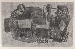 Monochromatic Bauhaus Cubist Figures, Monotype Print on Paper, Circa 1970s