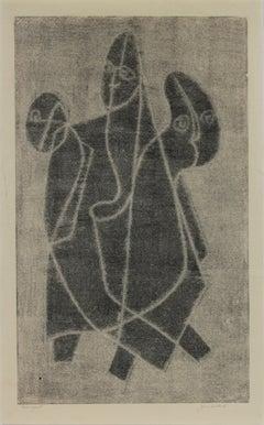 Monochromatic Geometric Figure Trio 1970s Monotype