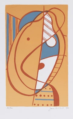 """Small Head"" 1972 Warm Toned Serigraph"