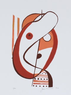 Warm Tone Abstracted Figural Form 1972 Serigraph