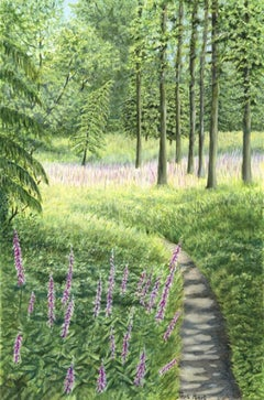 Foxglove Walk, Jane Peart, Original landscape painting