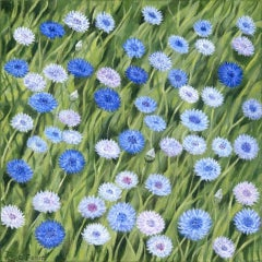 Jane Peart, Cornflowers, Original Floral Painting, Affordable Art