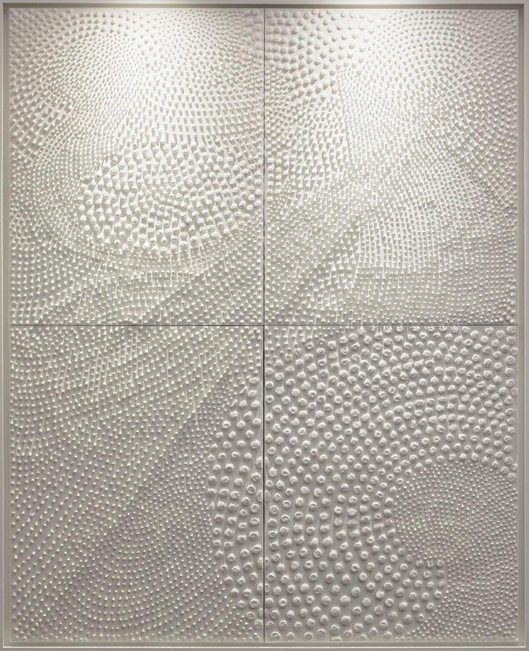 Jane Puylagarde Abstract Painting - Four Pieces of White, Monochrome Painting