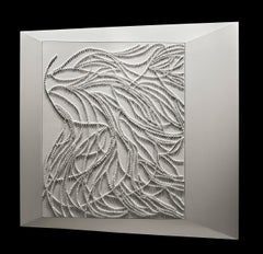 Tableau N°3 by Jane Puylagarde - Monochrome Painting, White, Dimensional Art