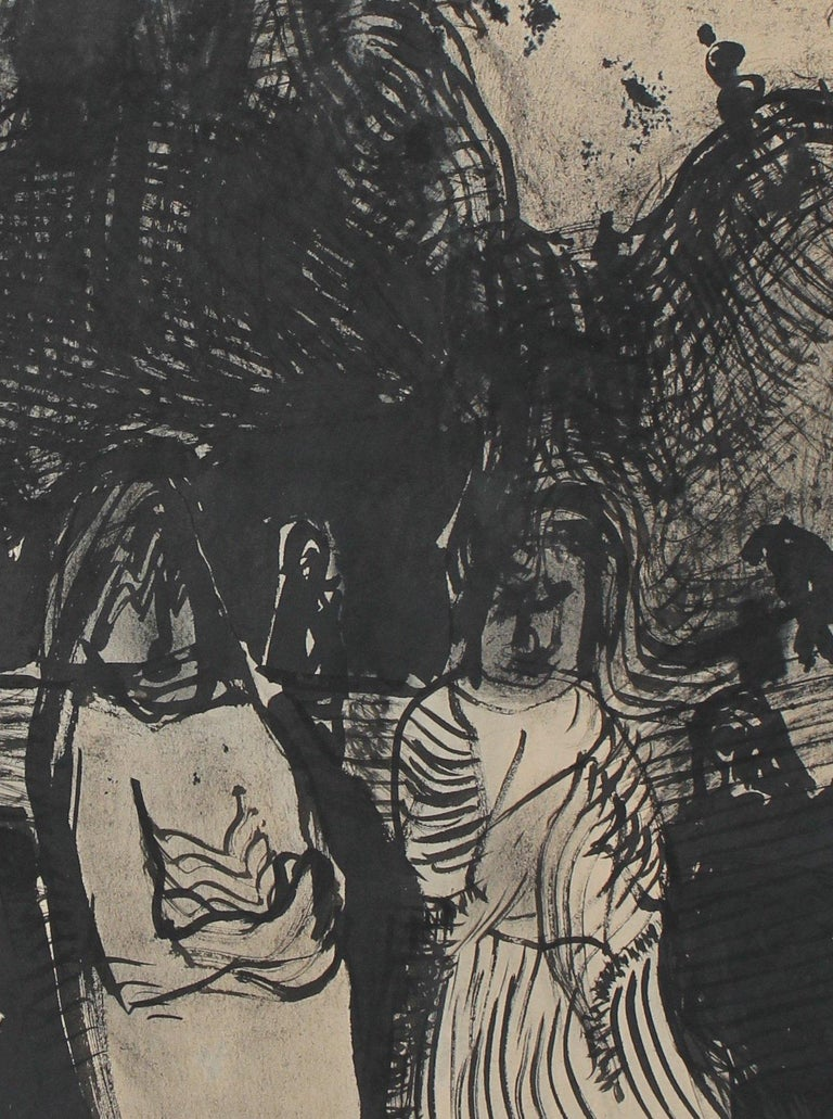 Figures in the Storm 20th Century Ink - Painting by Jane Rades