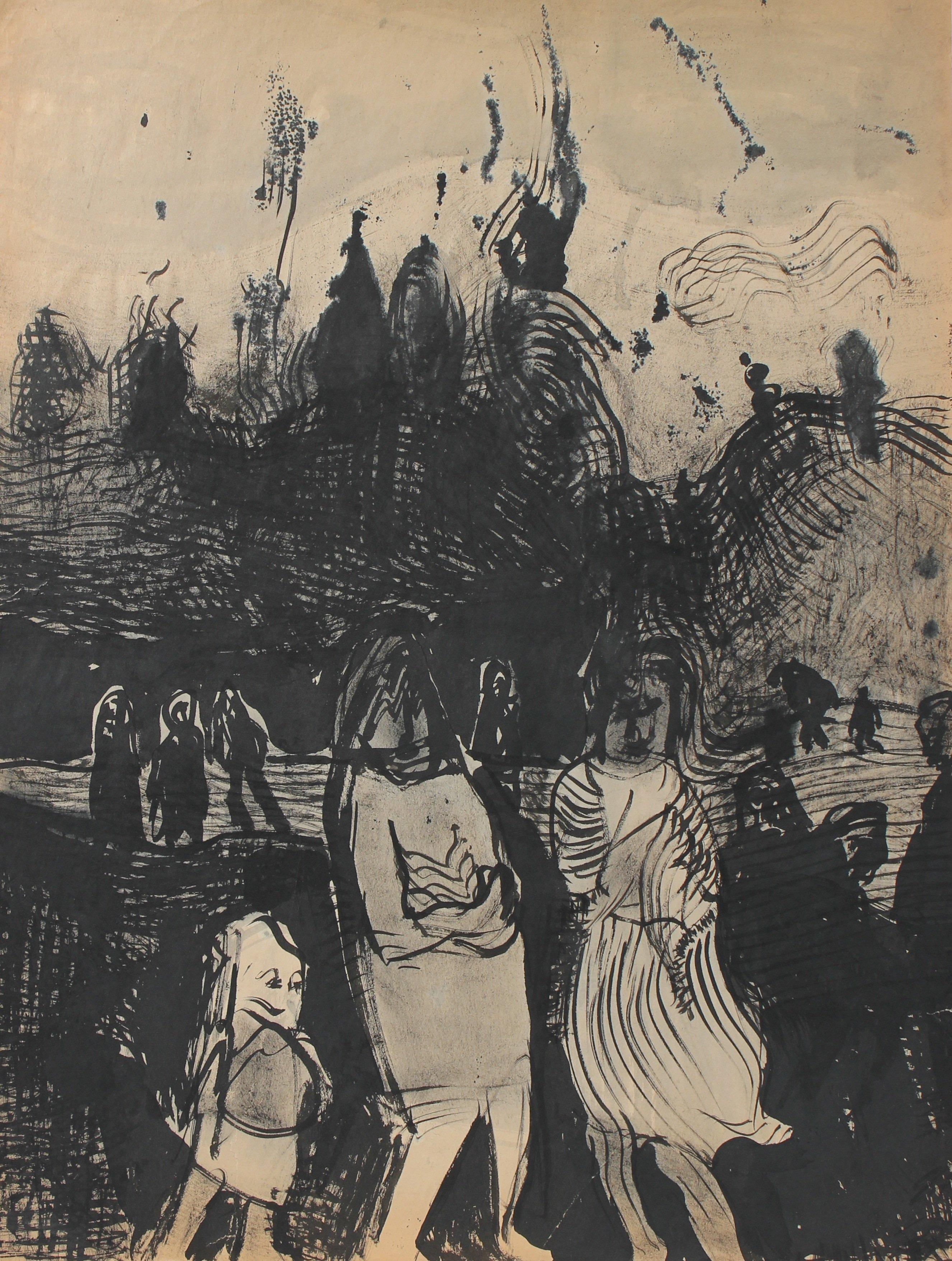 Figures in the Storm 20th Century Ink