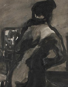 Moody Monochromatic Standing Ink Nude With Chair Mid-Late 20th Century