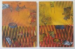 Jane Sangerman_Digit 61-62, 2017, Acrylic,Spray Paint, Panel, 12 x 9 x 1 in each